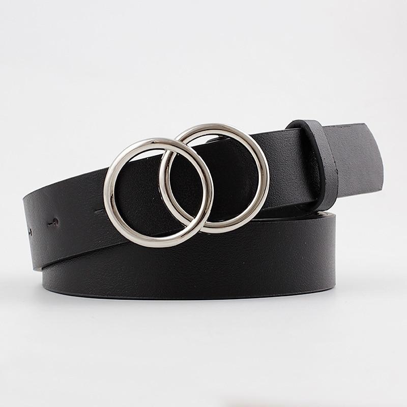 2020 New Women's Wide Black Whtie Brown Leather Belt Female Decorative Double Circle Ring Belts For Women Jeans Correa De Mujer