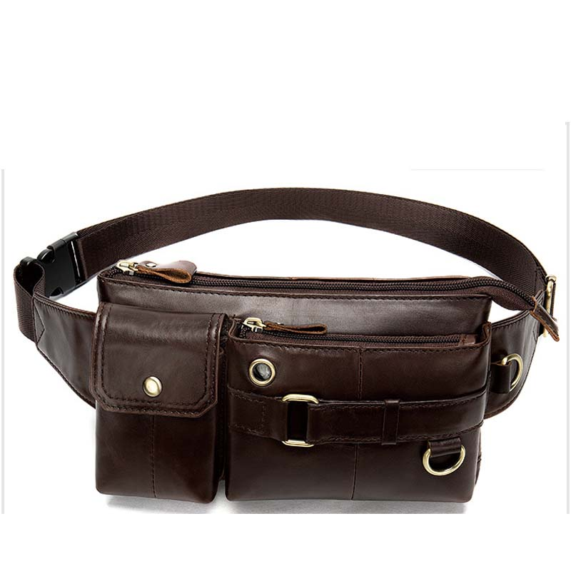 Waist Bag Men PU Leather Fanny Pack Fashion Belt Bag male's Casual Brown color Chest Bags Outdoor Sports Waist Packs