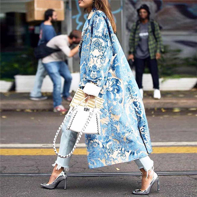 Warm  Floral Print Coat Long