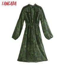 Moda de mujer Tangada verde raso estampado de leopardo vestido de encaje Patchwork manga larga vestido a la rodilla para mujer Vestidos CE68