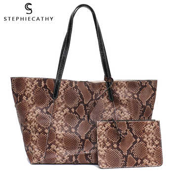 SC Luxury Genuine Leather Shoulder Bag for Women Large Tote Snake Pattern Handbag High Quality Soft Leather Female Shopping Bag - DISCOUNT ITEM  28% OFF All Category