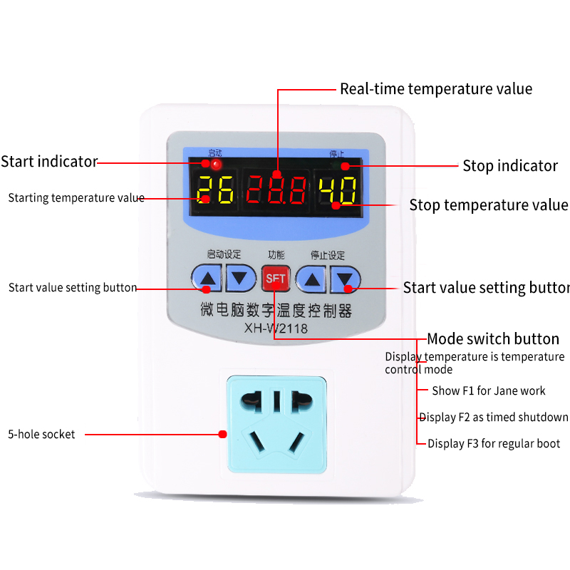 Microcomputer Digital Temperature Controller Boiler Breeding Intermittent Timing Thermostat Socket XH-W2118