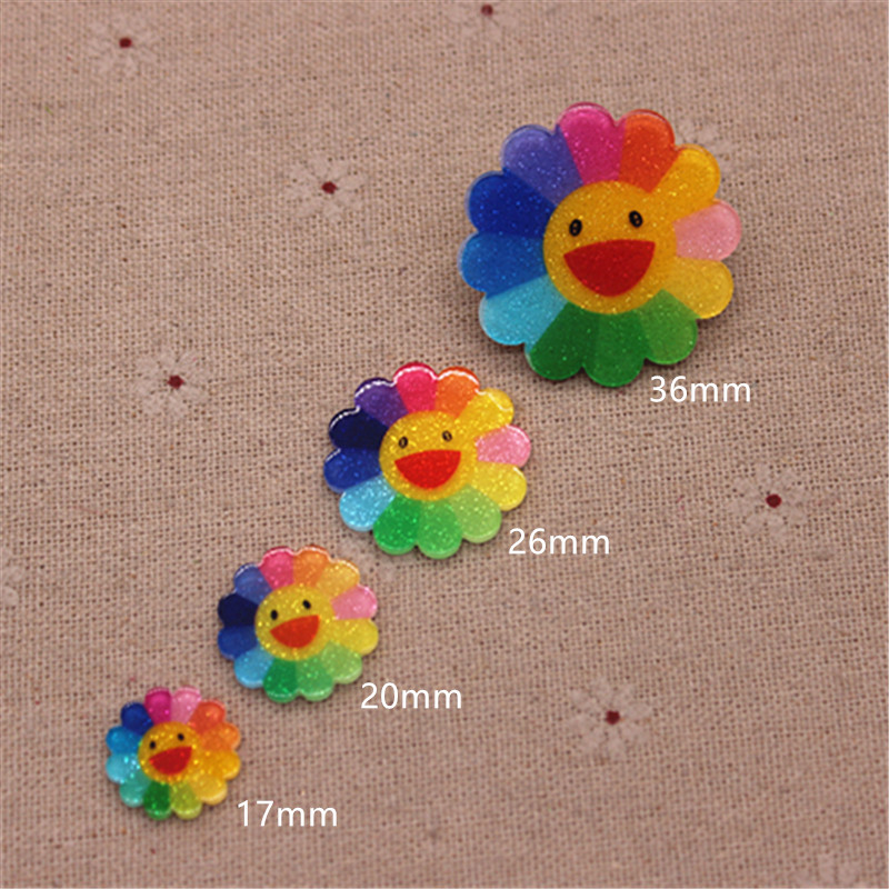 17mm-36mm Cute Resin Planar Rainbow Smiling Sunflower FlatBack Cabochon DIY Scrapbook Hair Ornament Decoration