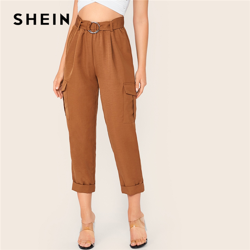 SHEIN Brown O-Ring Belted Flap Pocket Side Rolled Hem Pants Women 2019 Autumn Solid Elastic Waist Casual Ladies Cropped Trousers