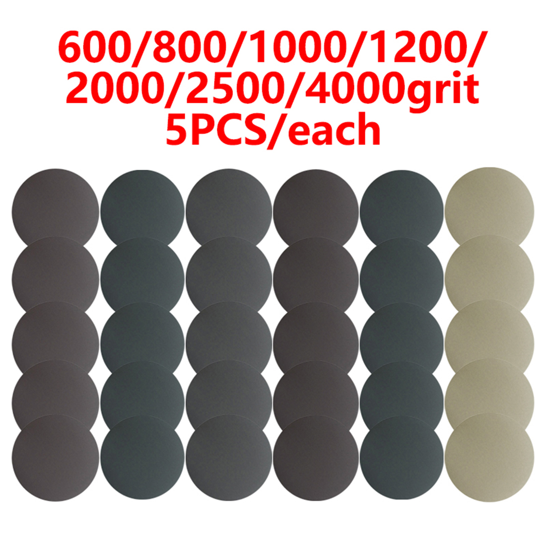 35pcs 5inch 125mm 600-4000 Grit Water Sanding Discs Hook & Loop Round Sandpaper Brand New And High Quality Sanding Discs