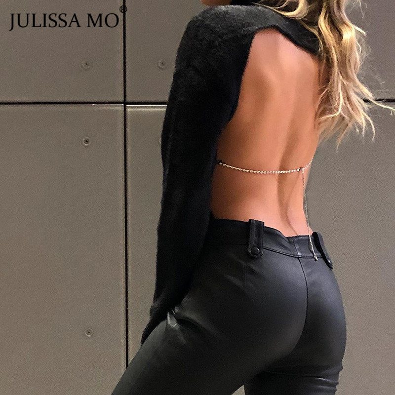 JULISSA MO Black Backless Sexy Bodysuit Women Back Chain Long Sleeve Rompers Womens Jumpsuit Female Skinny Night Party Body 2019