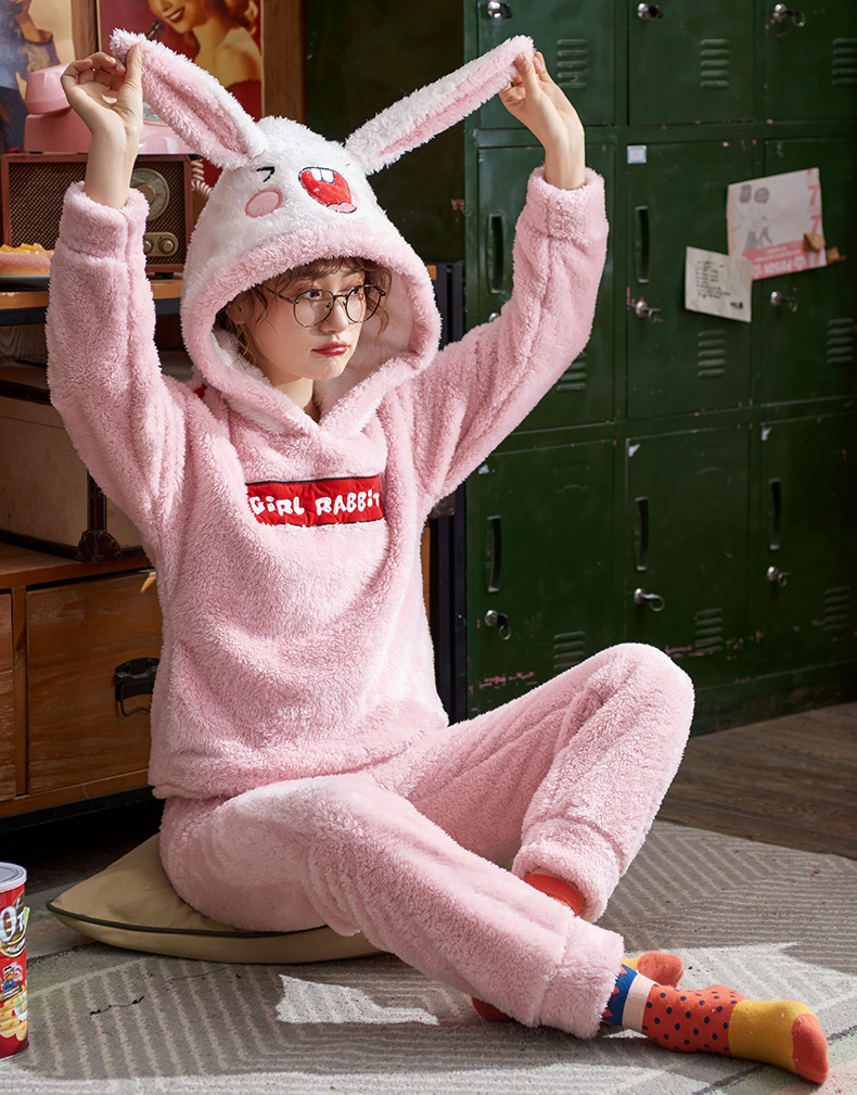 Plus Large Size M - 5XL Warm Pajamas Set Girl Women Cartoon Flannel Thickened Coral Velvet Long Sleeve Pink Rabbit Home Clothes 31