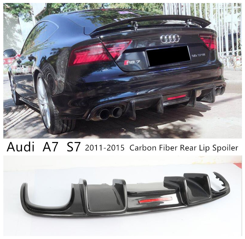 For <font><b>Audi</b></font> <font><b>A7</b></font> S7 2011 2012 2013 2014 2015 Carbon Fiber <font><b>Rear</b></font> Lip Spoiler High Quality Bumper <font><b>Diffuser</b></font> Car Accessories image