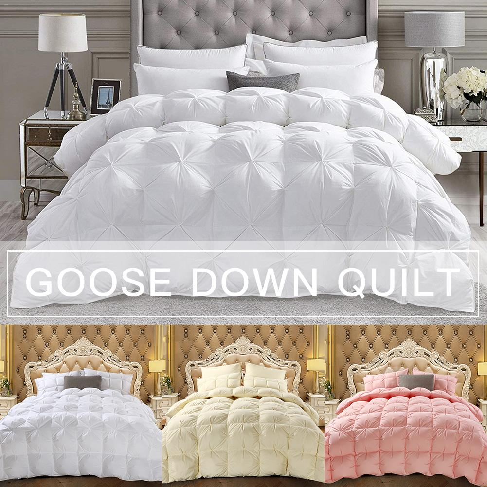 Goose Down Winter Quilt Comforter Blanket Duvet Filling Cotton Cover Twin Single Queen King Supper Pleat Design Double Quilt Cor