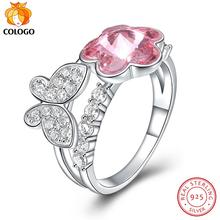 COLOGO 925 Sterling Silver Ring Butterfly Pink crystal Flower Ring For Women S925 Silver Luxury Ring Party Jewelry Gift LKN0022 natural blue sapphire gem ring natural gemstone ring s925 silver luxurious big flower sun flower women girl gift party jewelry