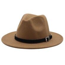 New Black white yellow Men Wool Fedora Hat Wide Brim Women Imitation Woolen Ladies Fedoras Jazz Hat Belt Caps Bowler Felt Hats