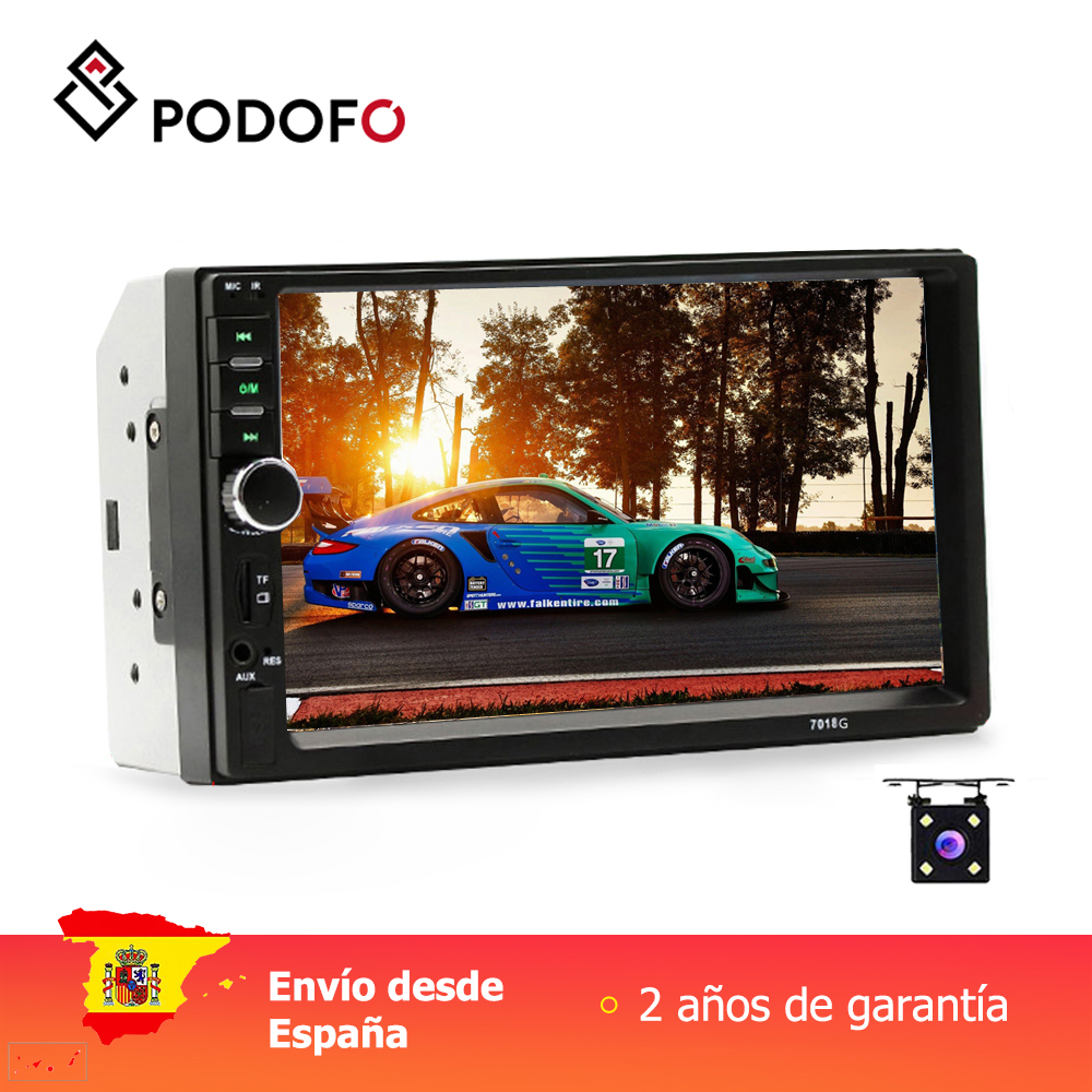 Podofo 2 din autoradio 7 ''GPS Navigation Auto avec carte carte Bluetooth multi-langue inversion quatre feux