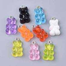 20pcs Gummy Bear Resin Pendants with Loop Imitation Animal Candy Charms for Earrings Jewelry Keychains Making