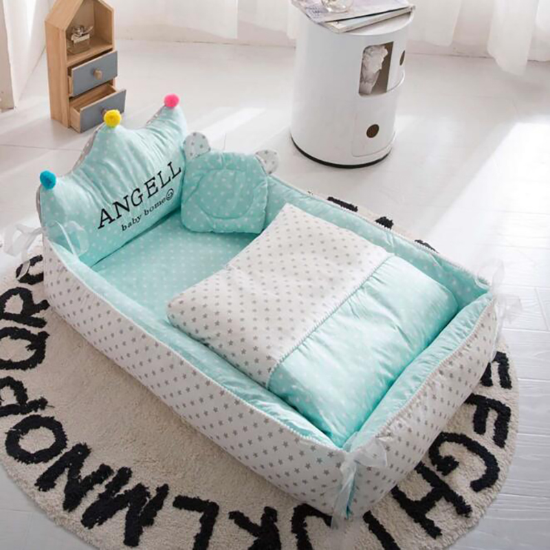 Newborn Portable Crib Baby Kids Sleeping Bed Nest Travel Crib Baby Cotton Safety Protection Nursing Outdoor