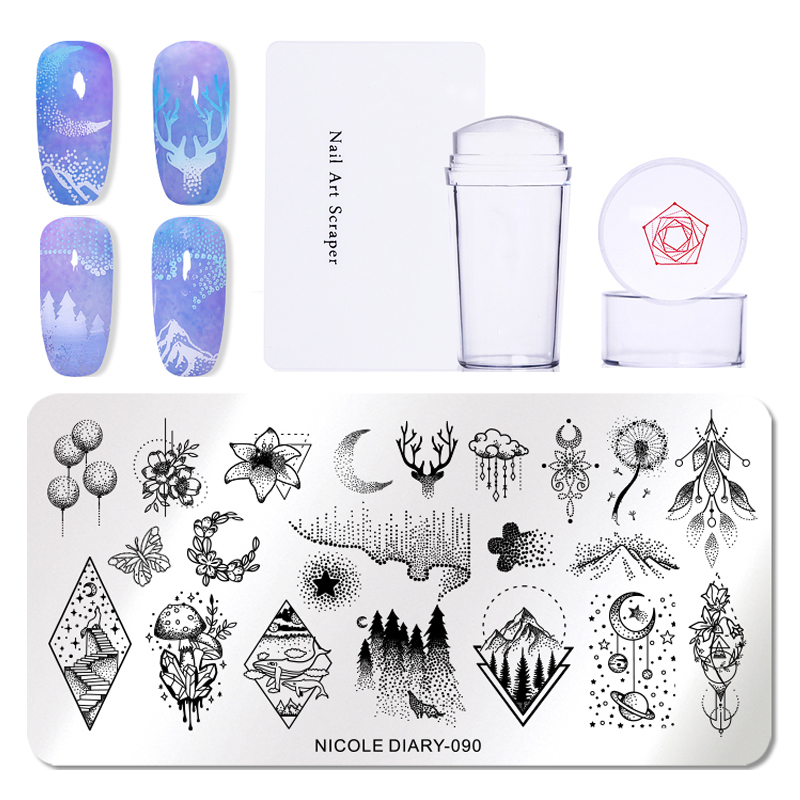 Image 4 - NICOLE DIARY 3pcs/set Nail Stamping Plate Stamper Scraper Geometric Coconut Flower Images Stamp Template Manicure Art Stencil-in Nail Art Templates from Beauty & Health
