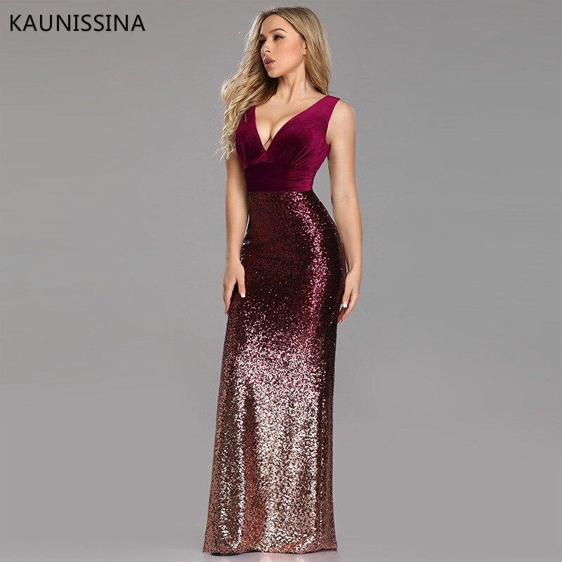 KAUNISSINA Sexy robe de soirée col en v sans manches velours paillettes Patchwork sirène bordeaux longue robe de soirée élégante robes de soirée