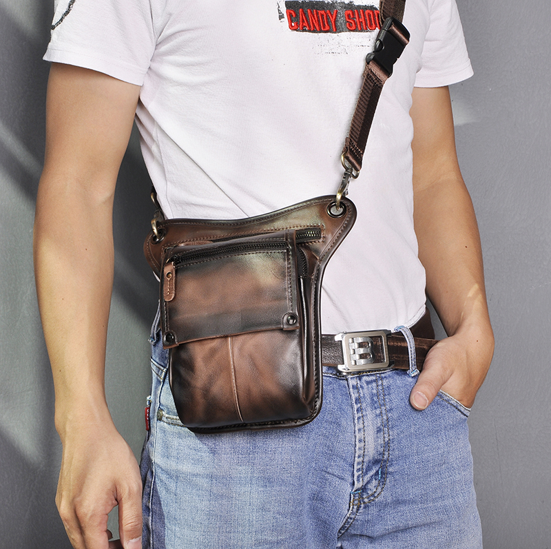 Hot Sale Crazy Horse Real Leather Men Vintage Black Small Belt Messenger Bag Waist Pack Drop Leg Bag Pouch Male 211-4