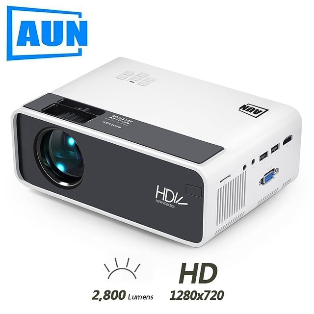 AUN MINI Projector D60, 2800 Lumens 1280x720P, LED Proyector for 1080P Home Cinema, Optional D60S Android WIFI 3D Video Beamer.