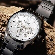 цена на Top Brand Men Watch Fashion Chronograph Military Quartz Watches Stainless Steel Business Wrist Watch Relogio Masculino