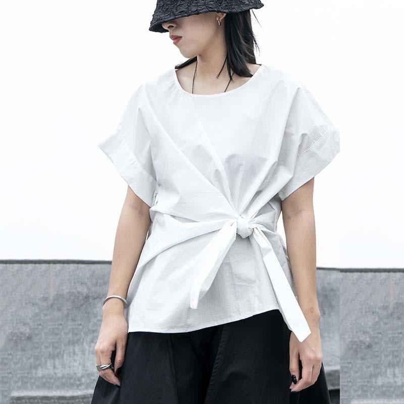 [EAM] Women Black Irregular Knot Split Big Size T-shirt New Round Neck Short Sleeve  Fashion Tide  Spring Summer 2020 1W254 3