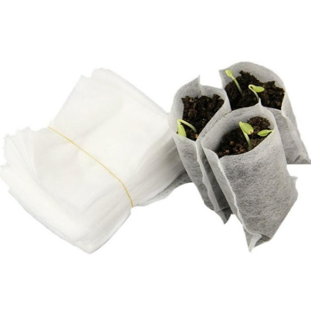 100PCS/Bag Biodegradable Seed Nursery Bags Nursery Flower Pots Vegetable Transplant Breeding Pots Garden Planting Bag