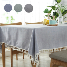 Simple Table Cloth 100% Cotton With Tassel Cover Party Home Decoration Rectangular 8 Sizes Washable Tablecloth