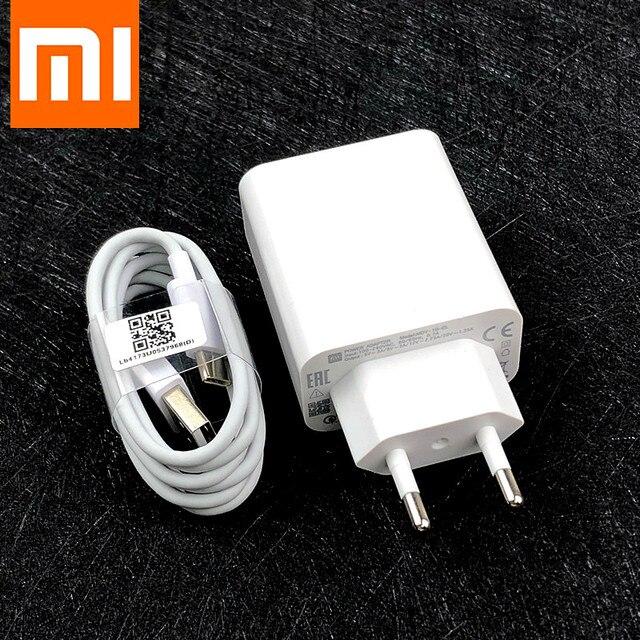 Оригинальное быстрое зарядное устройство Xiaomi QC 4,0, турбозарядный адаптер Usb c, кабель для Xiaomi Mi 9 se 9T 10 pro A3 Redmi Note 7 8 9 K20 30 Pro