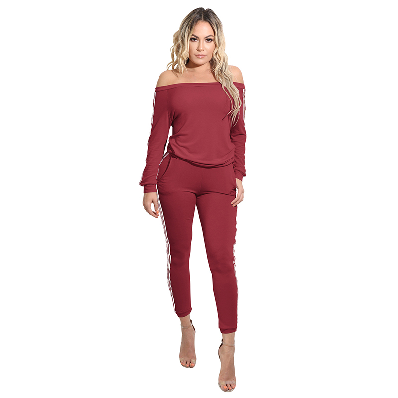 Fashion Pants Shoulder Solid Confortabe Long Sleeve Summer Womens 2020 Black Rompers Sexy New Off Loose Long Casual Jumpsuit