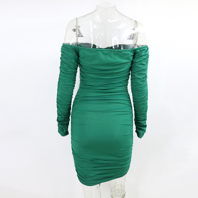 Santune 2020 elástico plissado strapless vestido slash neck bodycon sexy vestido de verão bainha clube noturno curto mini vestidos femininos