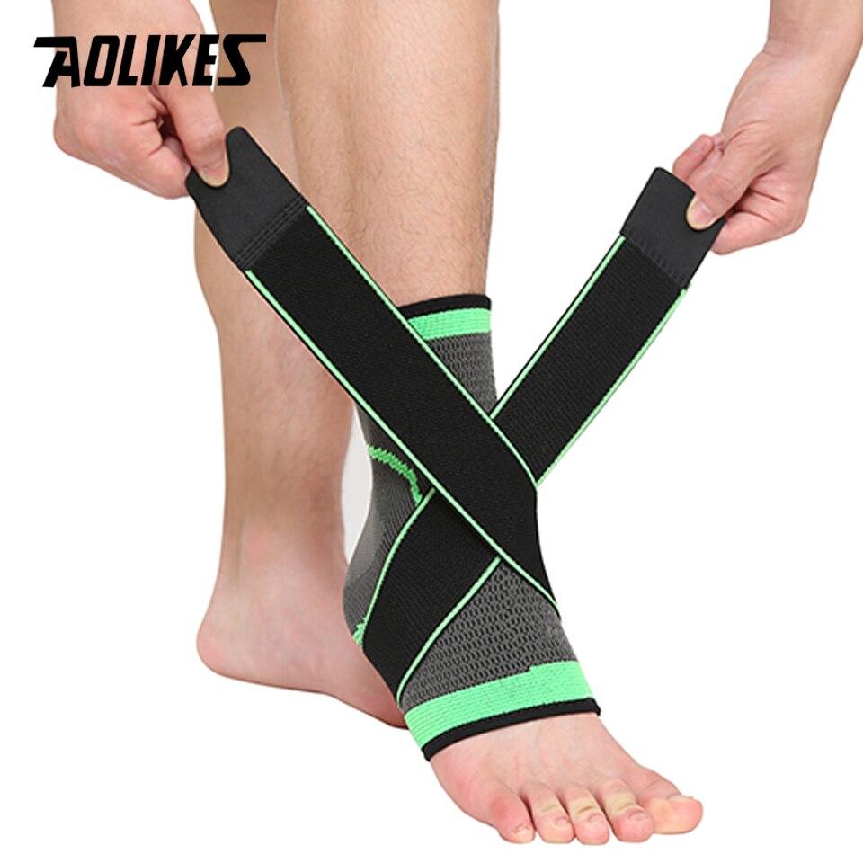 AOLIKES 1 PC Sports Ankle Brace Compressão Strap Mangas Suporte 3D Tecer Bandagem Elástica Pé Equipamentos de Proteção Ginásio de Fitness