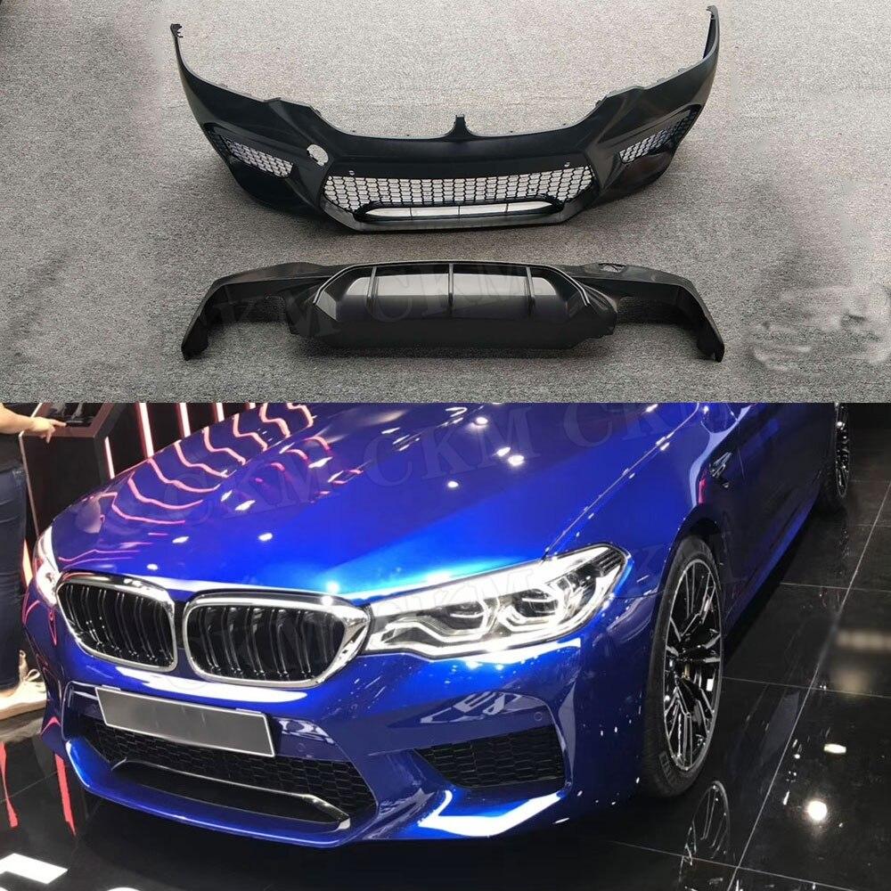 PP czarny zderzak przedni dyfuzor tylny dla BMW serii 5 G30 G31 G38 2017 2018 zmiana na F90 M5 styl zderzak samochodowy stylizacji