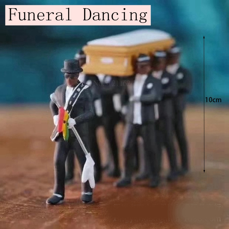 Cosplay Ghana Dancing Pallbearers Funeral Dancing Team Display Coffin Dance Figure Action Funny Decoration Toy Accessories