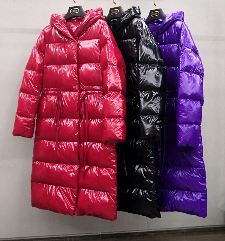 Patent leather glossy Jacket Women Winter   Down   Jacket Female Long Slim Waterproof Dustproof Washable hooded 90% Duck   Down     Coat