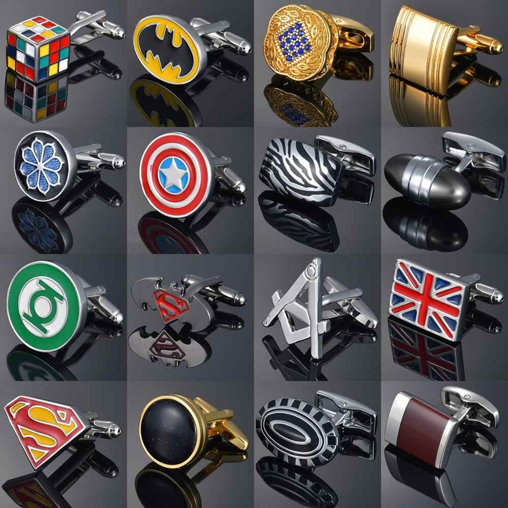 Lüks erkek fransız gömlek kol düğmeleri çevre dostu emaye pişirme leopar/kristal/bayrak/harfler desen kol düğmeleri gemelo