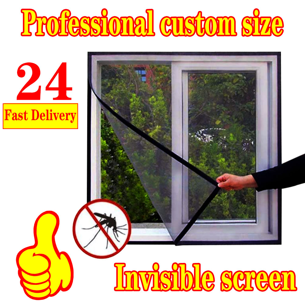 Inset Window Screen Mesh, Air Tulle Adjustable Summer Invisible Anti-Mosquito net Fiberglass Removable Washable Customize Screen 6