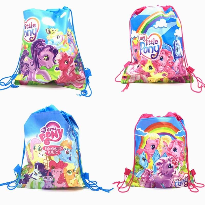 1Pcs My Little Pony Non-woven Fabric Backpack Party Supplies Kids Girl Travel School Bag Birthday Gift Mochila Drawstring Bag