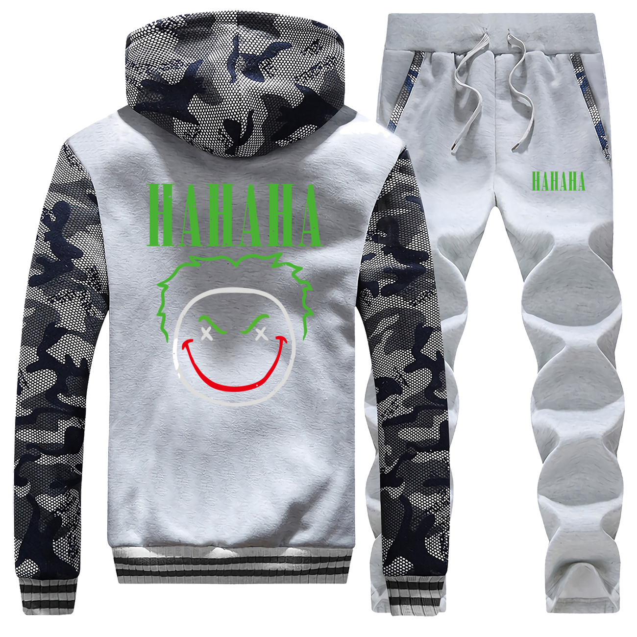 Joker Male Set Joaquin Camo Jacketd Cartoon Joker Pants Sweatshirt Fashion HAHAHA Print Sweatsuit 2019 Winter Fleece 2 Piece Set