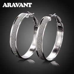 100% 925 Sterling Silver Hoop Earring For Women 40MM Scrub Big Round Circle Earrings Jewelry Gift