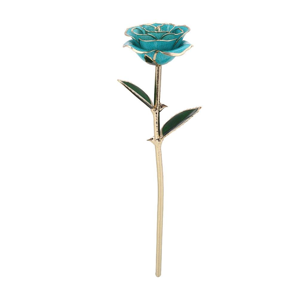 Цветочный декор, искусственный цветок, искусственная Роза, украшение, искусственная имитация, цвет, золотая фольга, 10 цветов, растительный орнамент, фестиваль - Цвет: Light Blue
