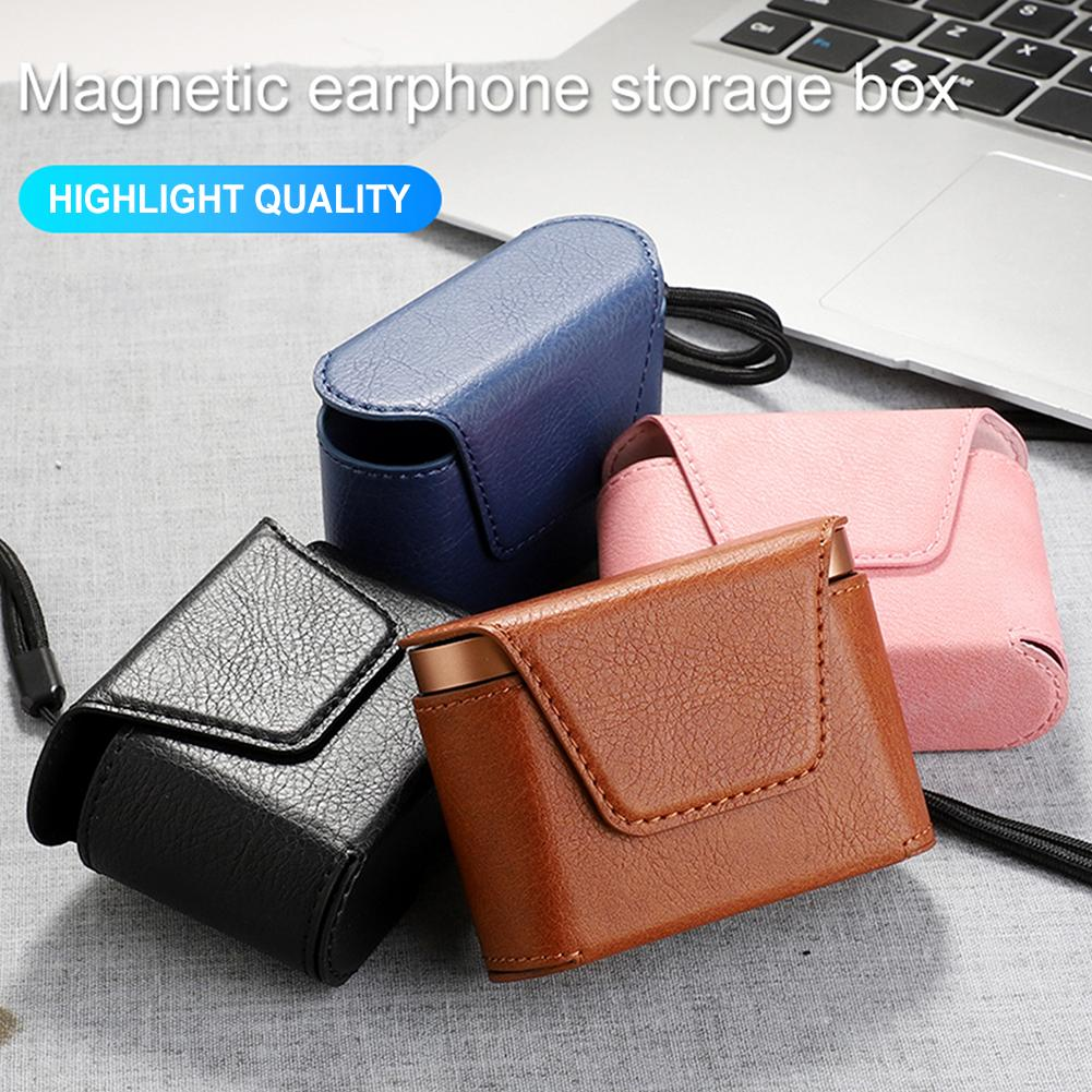 Black Earphone Leather Cover Portable Case Storage Bag For WF-1000XM3 Functionality Stylish Full Body Protection Earphone