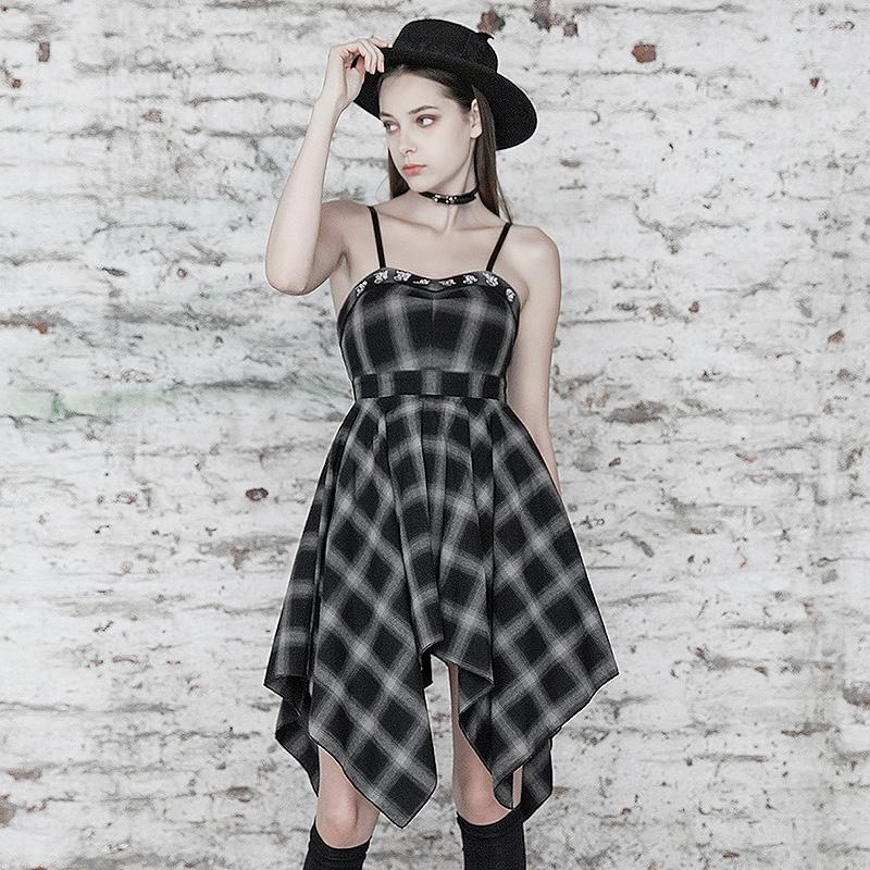 Punk Rave femmes Goth Plaid robe sans bretelles avec ourlet irrégulier PQ493LQ asie taille S-L