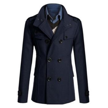 2020 Winter Standing Collar Long-sleeved Double-breasted Wool Trench Coat Jacket Men's Autumn And Winter Warm Jacket Slim Men's