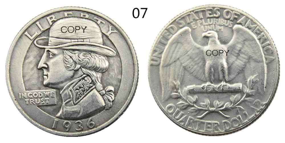 Ons Hobo Mix 12 Pcs Verschillende Soorten Washington Quarter Dollar Faceless Man Schedel Zombie Skeleton Verzilverd Kopie Munten