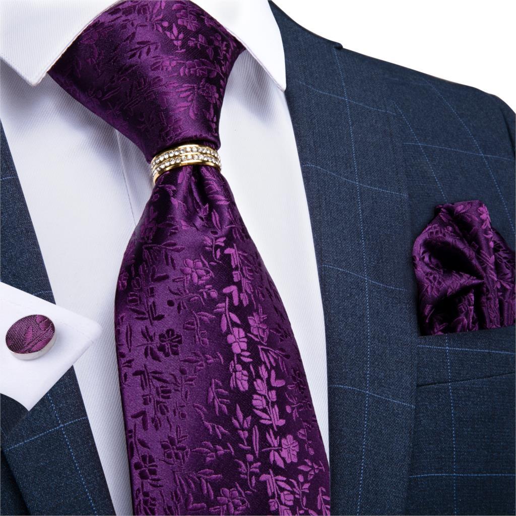 Men Tie Dark Purple Solid Floral Wedding Tie For Men Necktie Ring Hanky Cufflink Silk Tie Set DiBanGu Designer BusinessJZ03-7267
