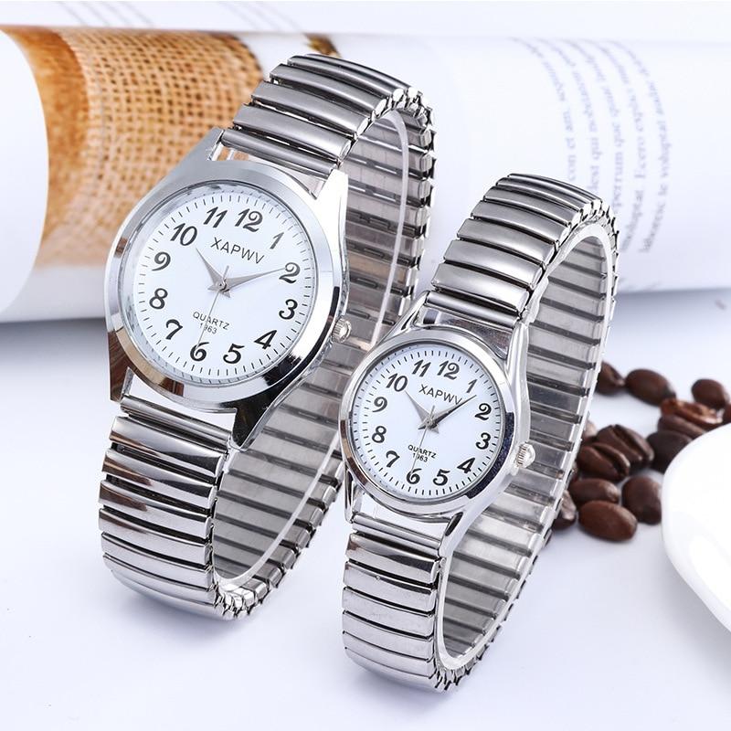 Classic Man And Ladies Dress Watch Simple Watches Couple Flexible Stretch Band Quartz Watches Men Women Clock Wristwatch C098
