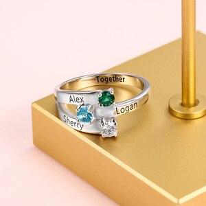 Image 4 - 925 Sterling Silver spersonalizowane nazwa rodziny grawerowane pierścienie dla kobiet klienta 3 Birthstones matki pierścień Fine Jewelry (RI102505)