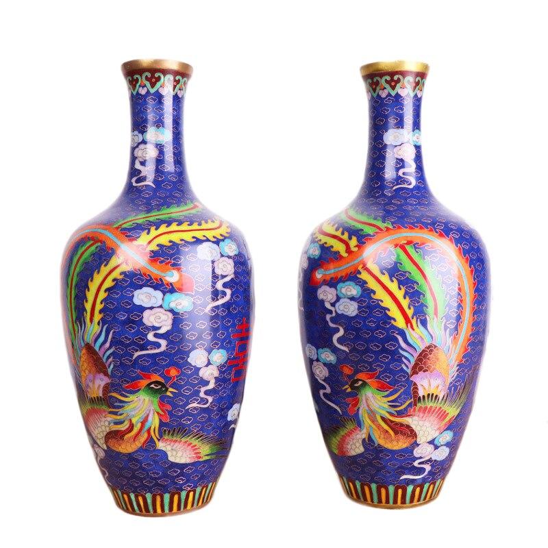 Mozart Si Feng Lai Yi Cloisonne Vasi Una Coppia Phoenix Smalto Vasi di Colore Home Office Ornamenti Artigianato Ornamenti