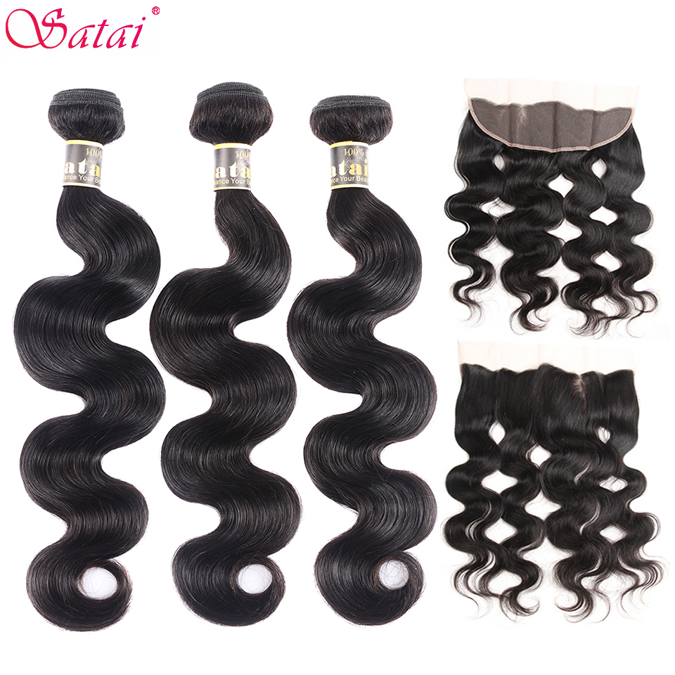 Satai Body Wave Human Hair 3 Bundles With Frontal Natural Color Peruvian Hair Bundles With Closure Non-Remy Hair Extension