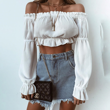 2019 European and American Women's T-shirt Holiday European and American Personality Chiffon Full Slash Neck Blouse 2019 Women spring and summer new style european and american loose chiffon shirt slash neck striped chiffon top