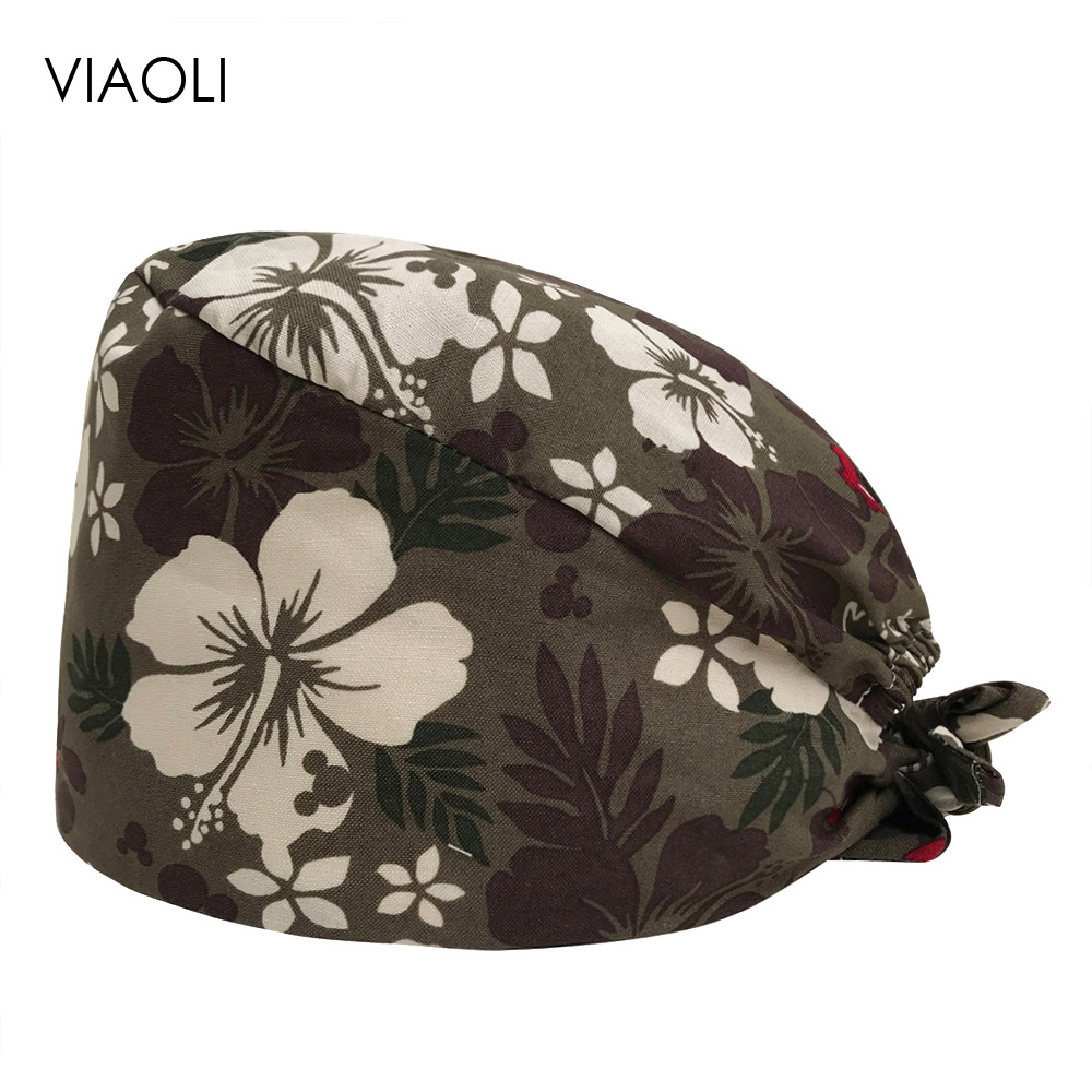 VIAOLI Men Women Medical Scrubs Pharmacy Work Cap Surgery Nurse Hat Oral Cavity Dental Clinic Pet Veterinary Surgical Cap040